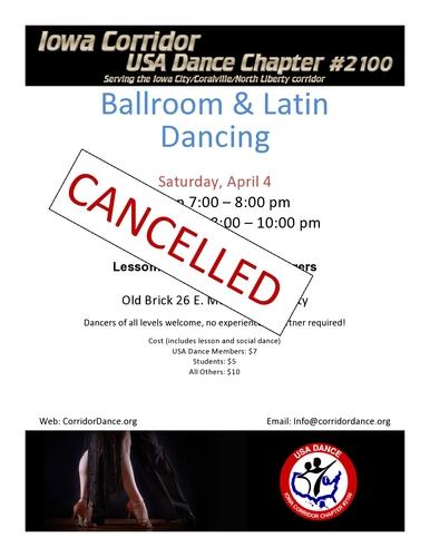 Ballroom and Latin Dancing, Saturday, April 4 - CANCELLED