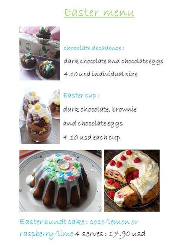 French Pastry's Easter desserts menu !
