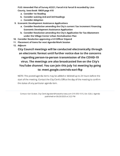 City of Hiawatha Regular Council Meeting 7/1/2020