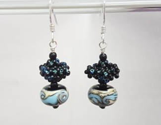 Search craw lampwork earrings blue beadology iowa
