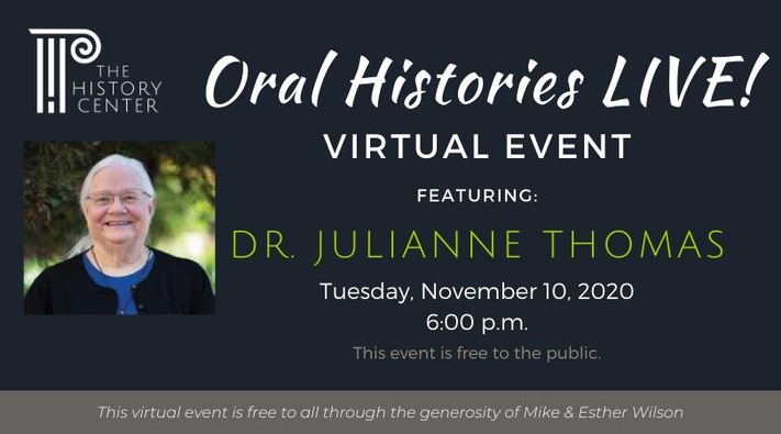 Oral Histories LIVE! Featuring Dr. Julianne Thomas