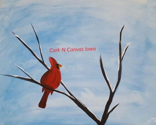 Online painting - Snow Cardinal - Cork n Canvas Iowa