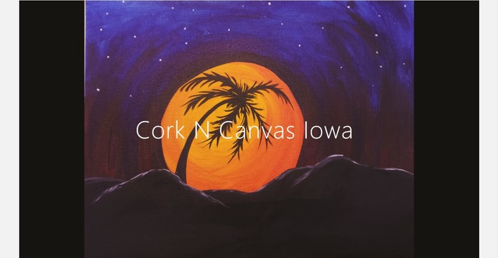 Online painting - Moon Palmtree- Cork n Canvas Iowa