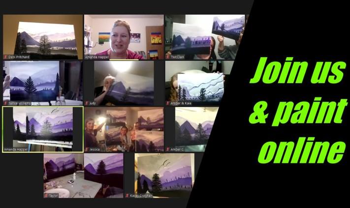 Online Painting - Snow Barn - Cork N Canvas Iowa