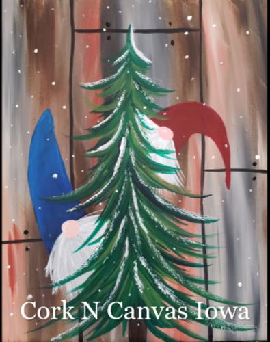 Online painting -Tree Gnome- Cork n Canvas Iowa