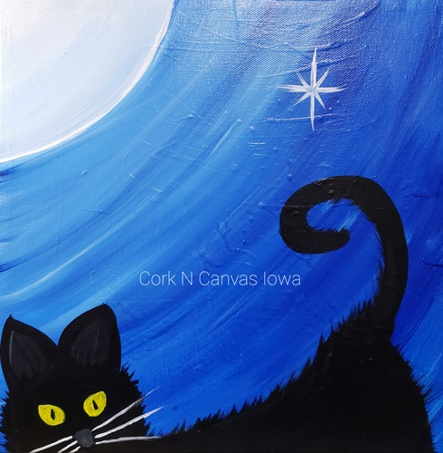 Online painting class -Kids 12x12 Black Cat -Cork n Canvas Iowa