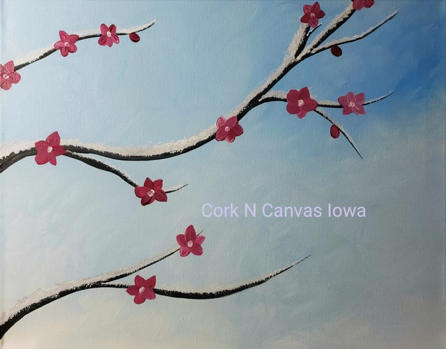 Online painting - Cherry Blossoms in Snow - Cork N Canvas Iowa