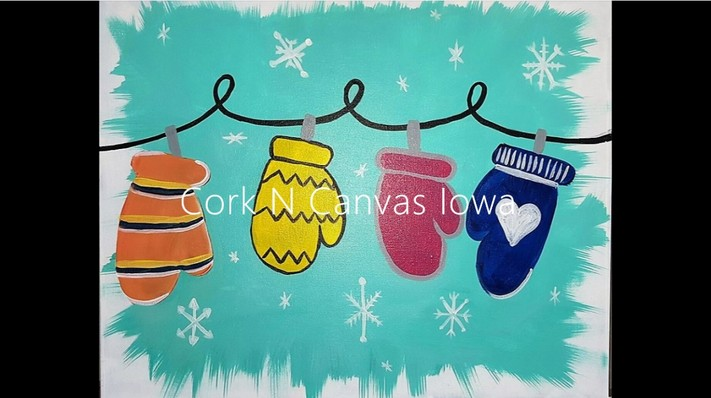 Online painting - Mittens -Cork n Canvas Iowa