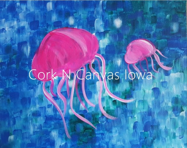 FREE Online Painting - Jelly Fish - Cork N Canvas Iowa