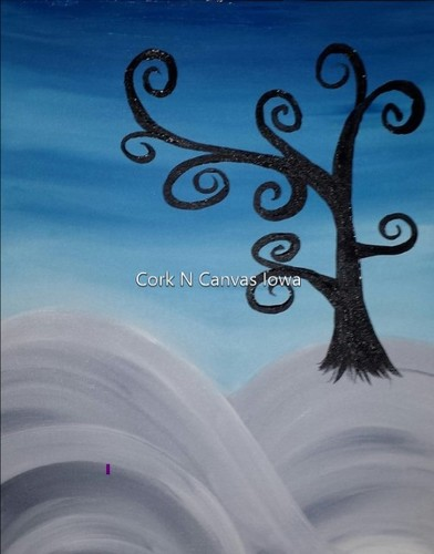 Online Painting - Snowy Hill- Cork n Canvas Iowa