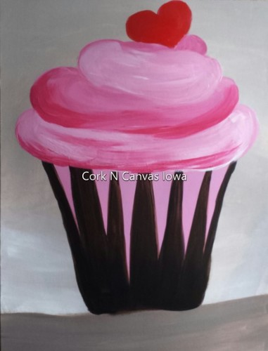 Online painting - Pink Cupcake - Cork n Canvas Iowa