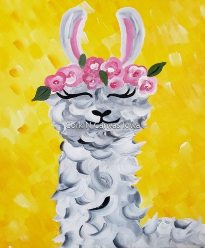 Online Painting -Llama- Cork n Canvas Iowa