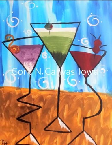 Online painting - Martini- Cork N Canvas Iowa