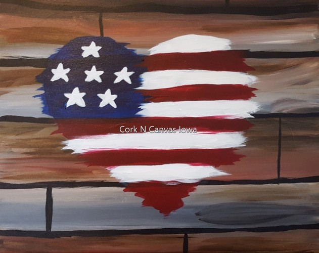 Online Painting- Heart Flag -Cork n canvas Iowa