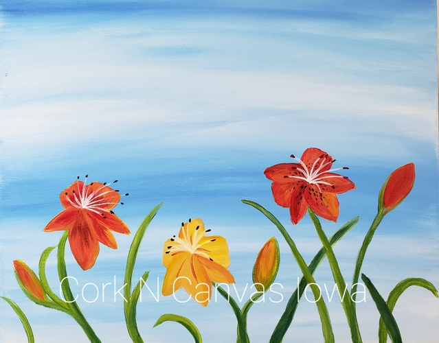 Online painting - Summer Daylilies - Cork n Canvas Iowa