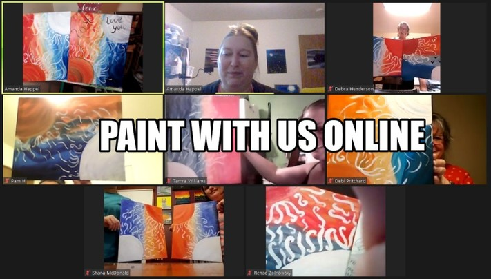 Online painting class -Kids 12x12 Panda-Cork n Canvas Iowa