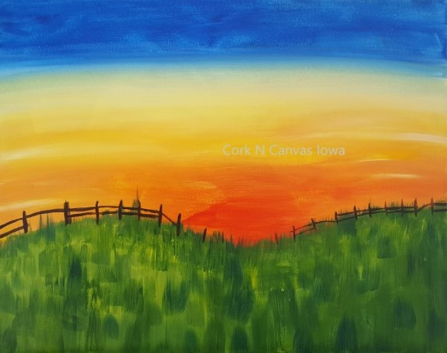 Online painting - County Sunset - Cork N Canvas Iowa