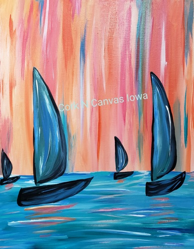 Online painting - Abstract Boats- Cork n Canvas Iowa