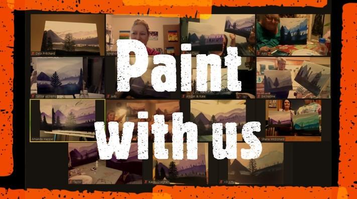 Online painting -Orange Tree- Cork n Canvas Iowa