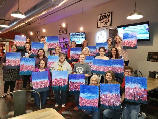Online Painting - Flowers at Night- Cork n canvas Iowa