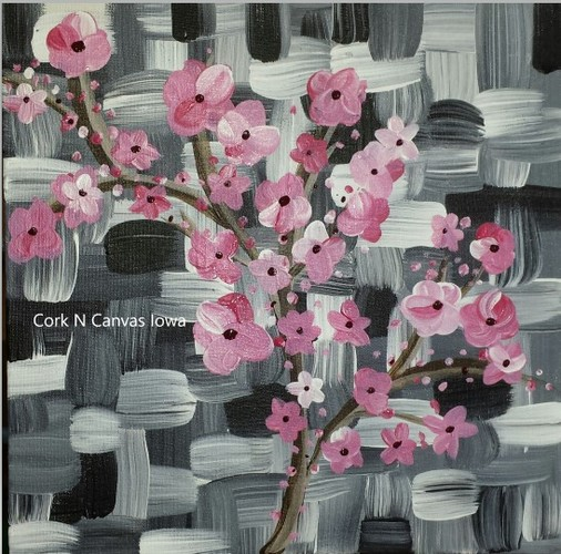 Online painting - 12x12 Japanese Blossom -Cork n Canvas Iowa