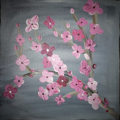 Online painting - 12x12 Japanese Blossom -Cork n Canvas Iowa