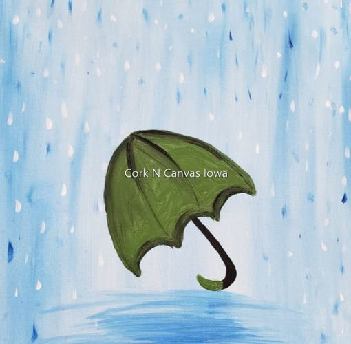 Online painting class -Kids 12x12 Umbrella-Cork n CanvasIowa