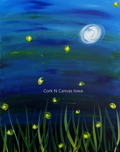 Online painting - FireFly - Cork N Canvas Iowa