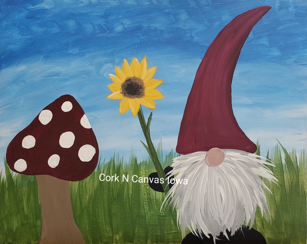 Online Painting -Summer Gnome- Cork n canvas Iowa
