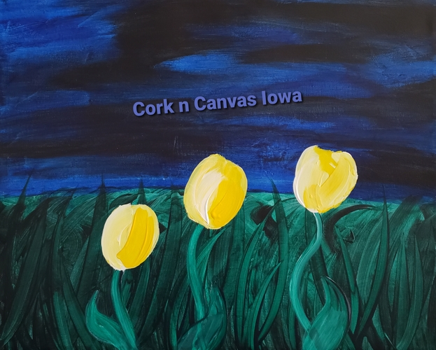 Online painting - Tulips at night Cork n Canvas Iowa