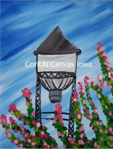 Online Painting -Water tower- Cork n canvas Iowa
