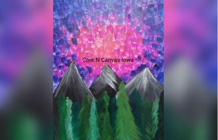 Online painting -Sunset Mountain- Cork n Canvas Iowa
