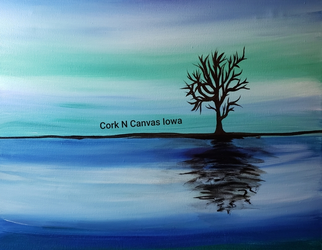 Online painting-Reflective Tree - Cork n Canvas Iowa