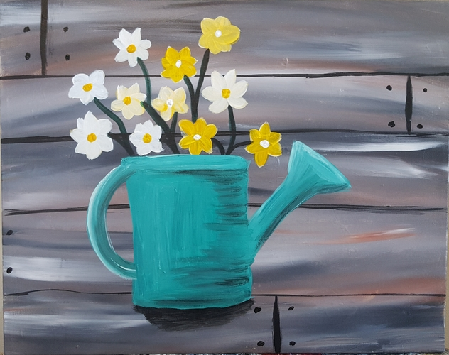 Online painting - Watering Can- Cork n Canvas Iowa