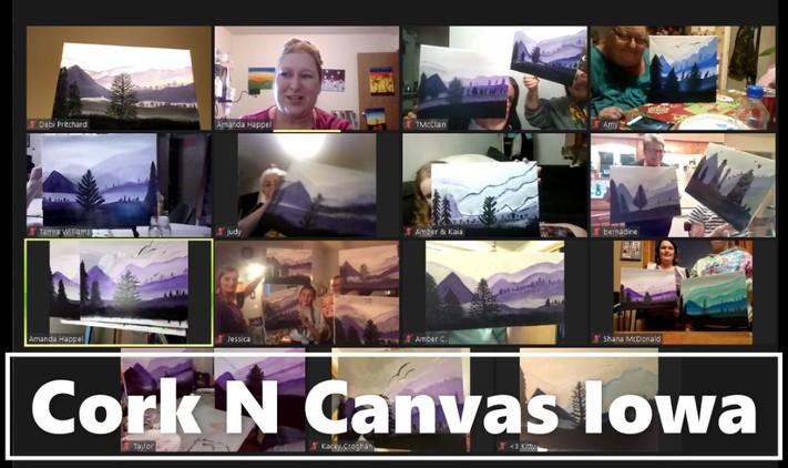 Online painting -Pour Class Ocean-Cork N Canvas Iowa