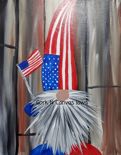 Online painting -Fourth of July Gnome- Cork n Canvas Iowa