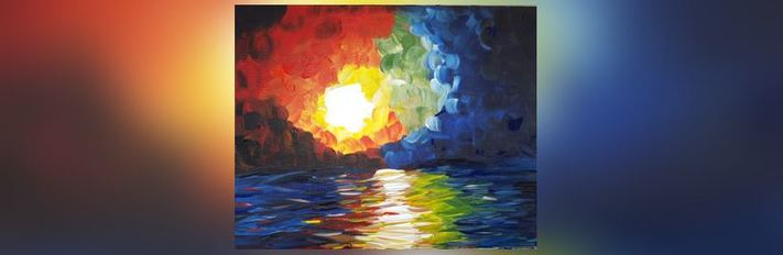 Online Painting-Abstract Sunset-Cork n Canvas Iowa