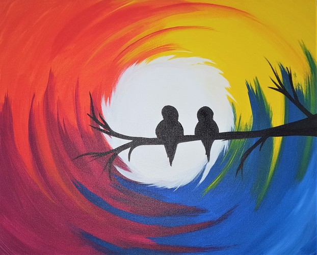 Online painting - Rainbow Birds - Cork N Canvas Iowa