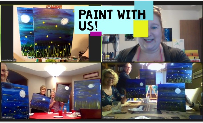 Online painting -Purple Owl-Cork n Canvas Iowa