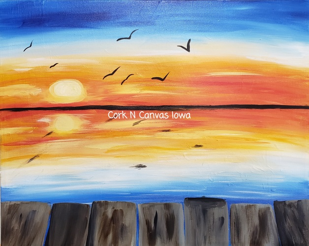 Online Painting -Dock at Sunset- Cork n canvas Iowa