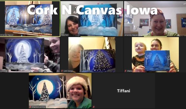 Online Painting-Love Birds-Cork n Canvas Iowa