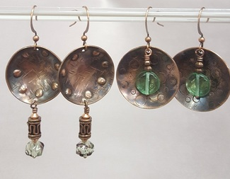 Search cupped copper earrings metalwork dapping beadology iowa