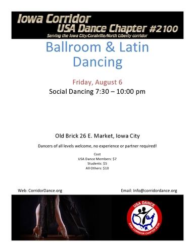 Ballroom and Latin Dancing, Friday, August 6