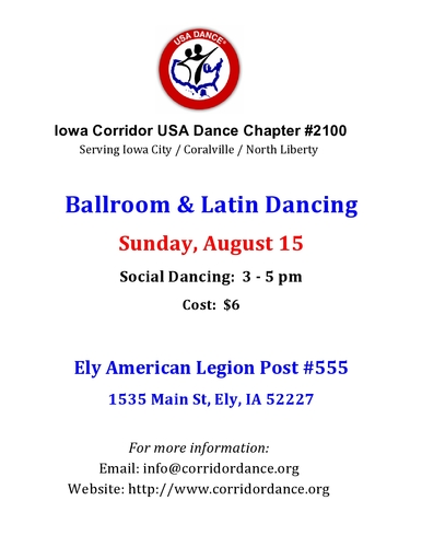 Ballroom and Latin Dancing, Sunday, August 15
