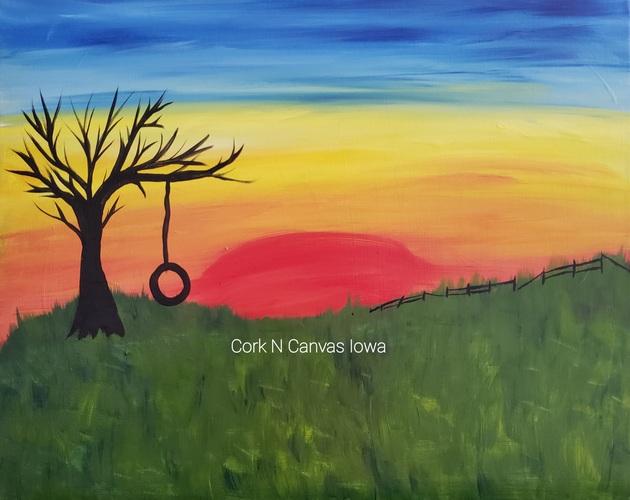 The Quarter Barrel -Sunset Tree Swing- Cork N Canvas Iowa
