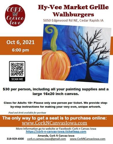 Edgewood Rd Hy-Vee -Pumpkin & Tree- Cork N Canvas Iowa