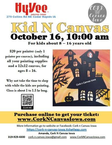 Kid N Canvas at Collins Rd Hy-Vee -Haunted House- Cork N Canvas Iowa