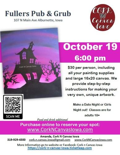 Fullers Pub & Grub -Purple Haunted House- Cork N Canvas Iowa