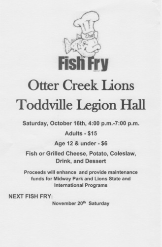Otter Creek Lions Oct 16th Fish Fry
