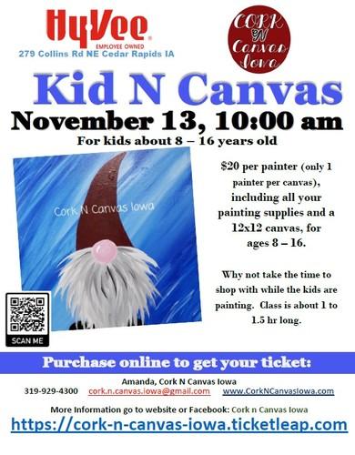 Kid N Canvas at Collins Rd Hy-Vee - Gnome - Cork N Canvas Iowa